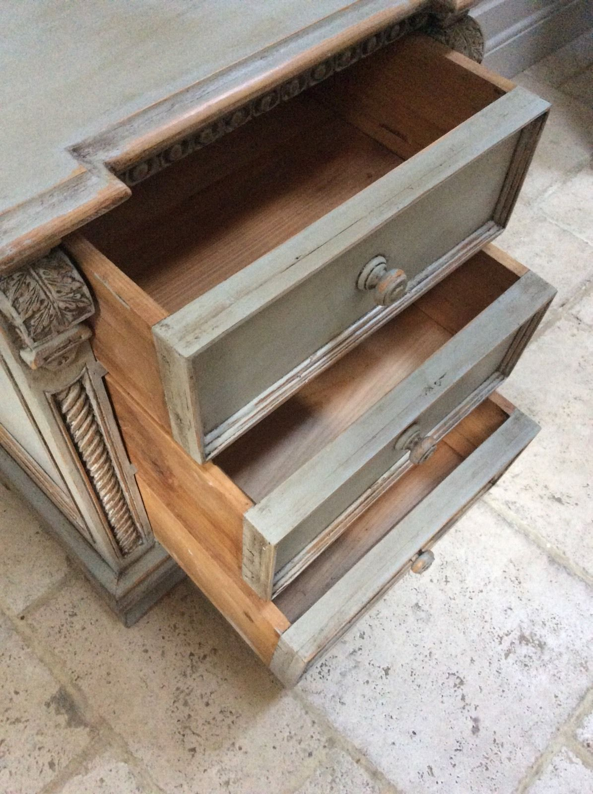 Grey Bedside Tables: French Rococo Style Ornate Grey Painted Pine Chest Of